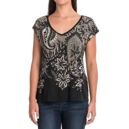 Lucky Brand Print Drape Shirt - Short Sleeve (For Women) in Black Multi - Closeouts