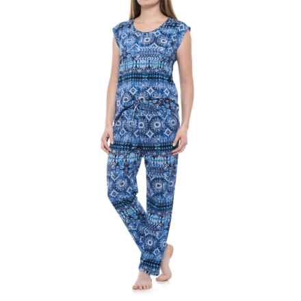 Lucky Brand Printed Pajamas - Short Sleeve (For Women) in Navy Print - Closeouts