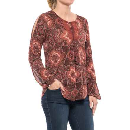 Lucky Brand Printed Peasant Top - Long Sleeve (For Women) in Red Multi - Closeouts