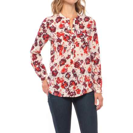 Lucky Brand Printed Popover Shirt - Long Sleeve (For Women) in Natural Multi - Closeouts
