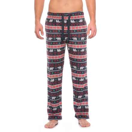 Lucky Brand Printed Soft Fleece Pants (For Men) in Blue Grey/Red/Polar Bear Print - Closeouts