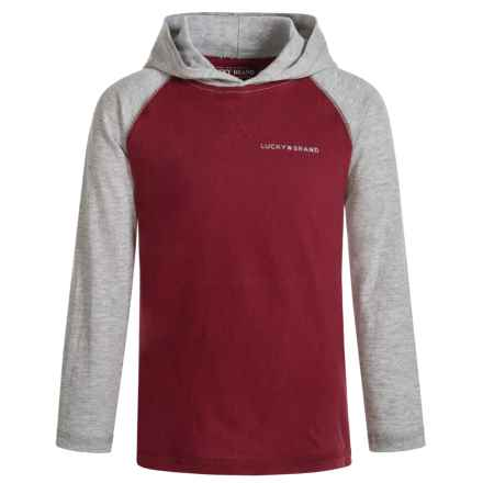 Lucky Brand Raglan Hoodie - Cotton (For Little Boys) in Ruby Wine - Closeouts