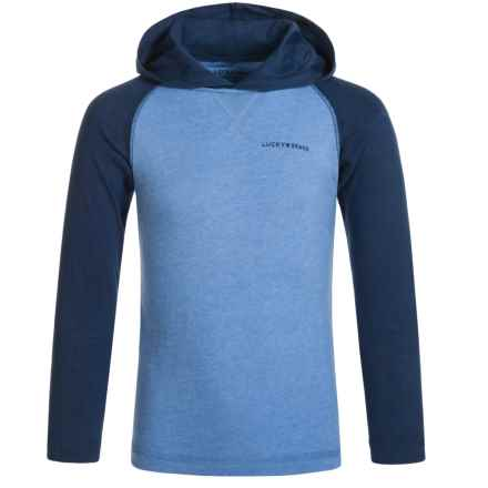 Lucky Brand Raglan Hoodie (For Big Boys) in Blue Dream Heather - Closeouts