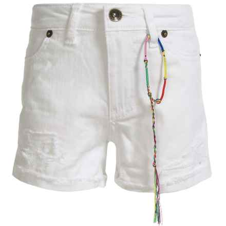 Lucky Brand Riley Rip and Repair Denim Shorts (For Big Girls) in Bright White - Closeouts