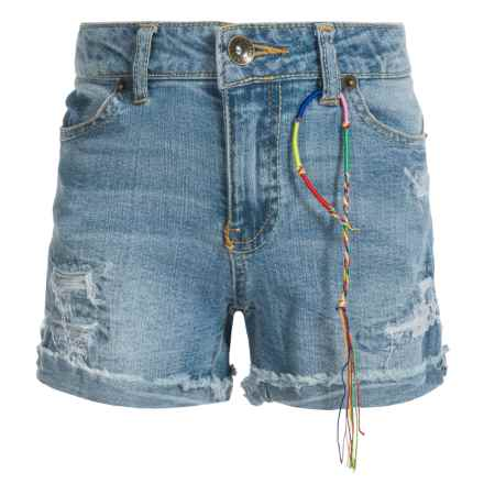 Lucky Brand Riley Rip and Repair Denim Shorts (For Big Girls) in Light Authentic - Closeouts