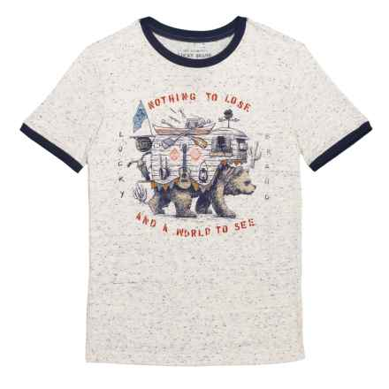 Lucky Brand Ringer Bear Graphic T-Shirt - Short Sleeve (For Big Boys) in Turtledove - Closeouts