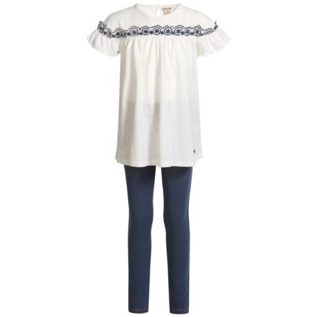 Lucky Brand Ruffled Shirt and Leggings Set - Short Sleeve (For Girls)