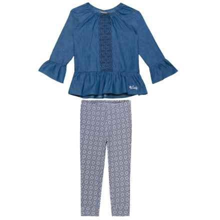 Lucky Brand Ruffled Shirt and Printed Leggings Set - Long Sleeve (For Toddler Girls) in Blue Heather - Closeouts
