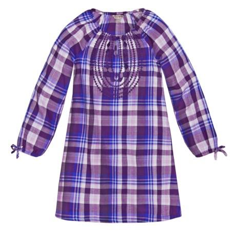 Lucky Brand Sarah Plaid Dress - Long Sleeve (For Big Girls) in Crown Jewel