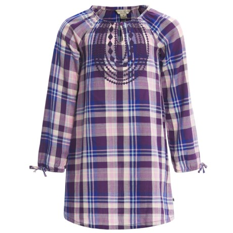 Lucky Brand Sarah Plaid Dress - Long Sleeve (For Little Girls) in Crown Jewel