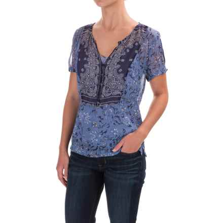 Lucky Brand Scarf Print Lined Shirt - Short Sleeve (For Women) in Navy Multi - Closeouts