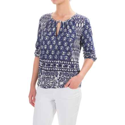 Lucky Brand Shibori Shirt - 3/4 Sleeve (For Women) in Blue Multi - Closeouts