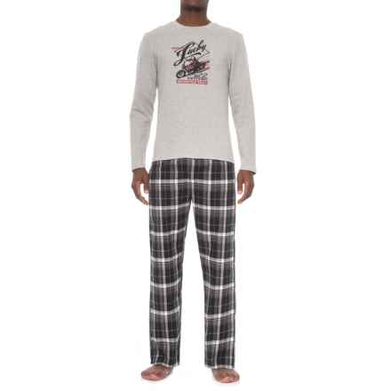 Lucky Brand Shirt and Pants Seasonal Pajamas - Boxed Gift Set, Long Sleeve (For Men) in Heather Grey/Jet Black Plaid - Closeouts