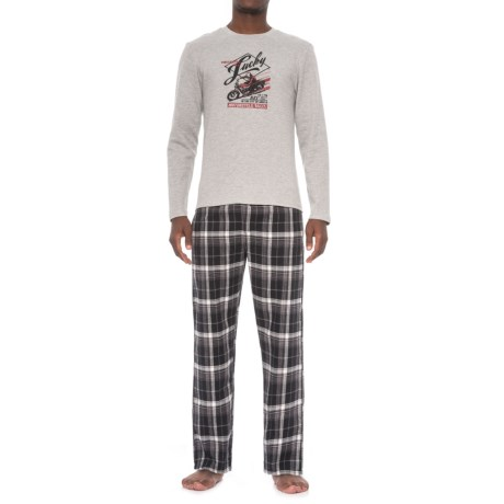 Lucky Brand Shirt and Pants Seasonal Pajamas - Boxed Gift Set, Long Sleeve (For Men) in Heather Grey/Jet Black Plaid