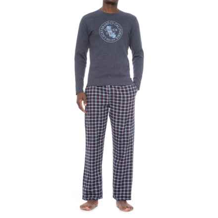 Lucky Brand Shirt and Pants Seasonal Pajamas - Boxed Gift Set, Long Sleeve (For Men) in Vintage Indigo/Dark Sapphire Plaid - Closeouts