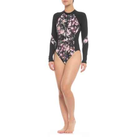 Lucky Brand Smokescreen One-Piece Swimsuit - Long Sleeve (For Women) in Multi - Closeouts