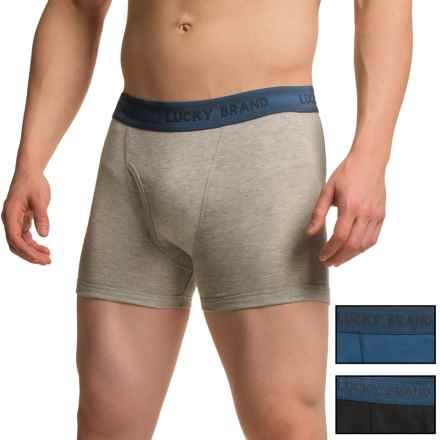 Lucky Brand Solid Cotton Boxer Briefs - 3-Pack (For Men) in Jet Black/ Heather Grey/ Ensign Blue - Closeouts
