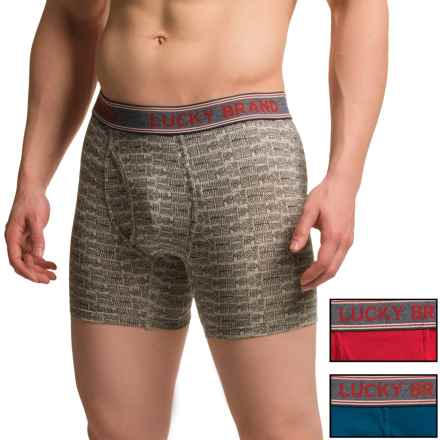 Lucky Brand Stretch Cotton Boxer Briefs - 3-Pack (For Men) in Blue Opal/ Jet Black Print/ Scarlet Sage - Closeouts