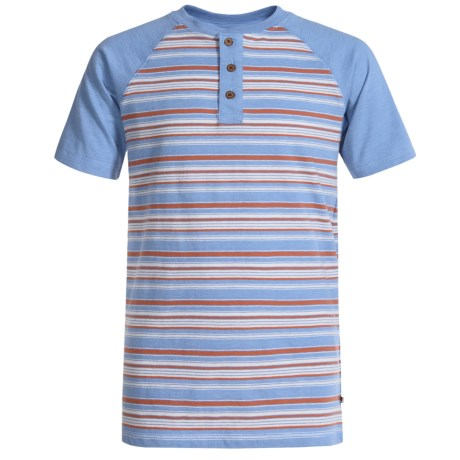 Lucky Brand Striped Henley Shirt - Short Sleeve (For Big Boys) in Blue Dream Heather