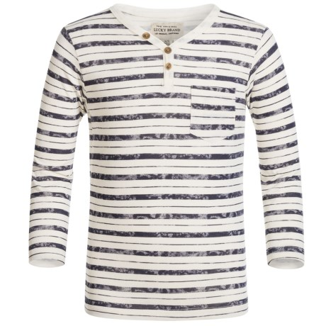 Lucky Brand Striped Pocket Shirt - Long Sleeve (For Little Boys) in Birch