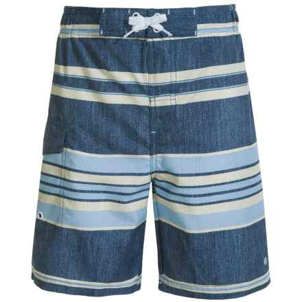 Lucky Brand Striped Swim Trunks (For Big Boys) in Blue - Closeouts