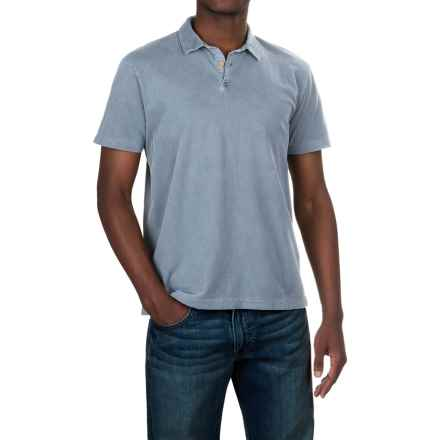 Lucky Brand Sueded Polo Shirt - Short Sleeve (For Men) in Dusty Blue - Closeouts