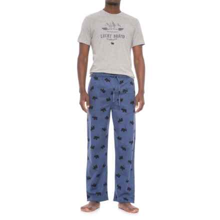 Lucky Brand T-Shirt and Pants Pajamas - Short Sleeve (For Men) in Heather Grey/Vintage Indigo Print - Closeouts