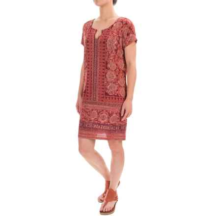 Lucky Brand T-Shirt Dress - Short Sleeve (For Women) in Burgandy - Closeouts