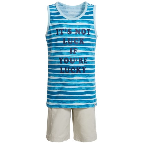 Lucky Brand Tank Top and Cargo Shorts (For Boys) in Blue Stripe/Beige