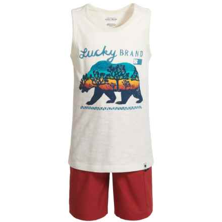 Lucky Brand Tank Top and Shorts (For Boys) in Natural/Red - Closeouts