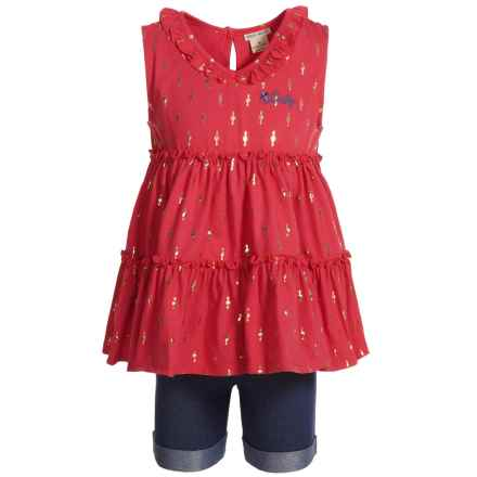 Lucky Brand Tank Top and Shorts Set (For Girls) in Dark Pink/Denim - Closeouts