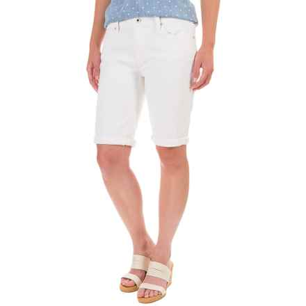 Lucky Brand The Bermuda Jean Shorts - Mid Rise (For Women) in White Cap - Closeouts
