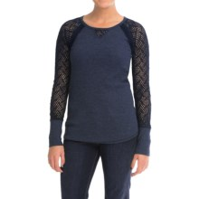 Lucky Brand Thermal Lace Shirt - Long Sleeve (For Women) in American Navy - Closeouts