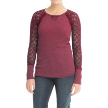 Lucky Brand Thermal Lace Shirt - Long Sleeve (For Women) in Rich Dark Red - Closeouts