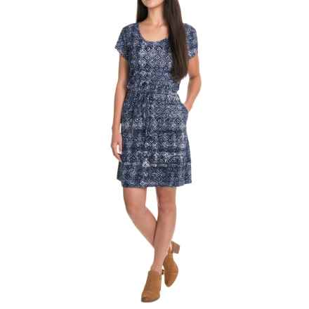 Lucky Brand Tile Dress - Short Sleeve (For Women) in Blue Multi - Closeouts