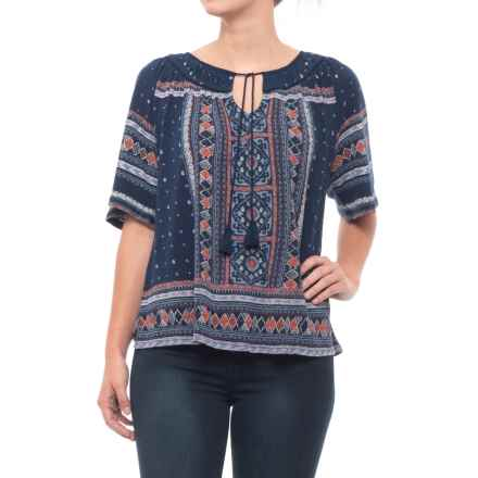 Lucky Brand Tile Print Shirt - Short Sleeve (For Women) in Blue Multi - Closeouts