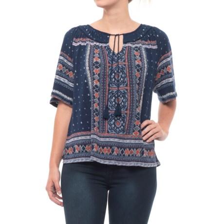 Lucky Brand Tile Print Shirt - Short Sleeve (For Women) in Blue Multi