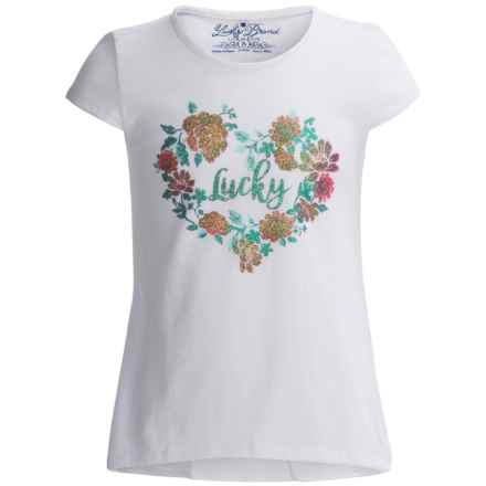 Lucky Brand True Love T-Shirt - Short Sleeve (For Big Girls) in Bright White - Closeouts