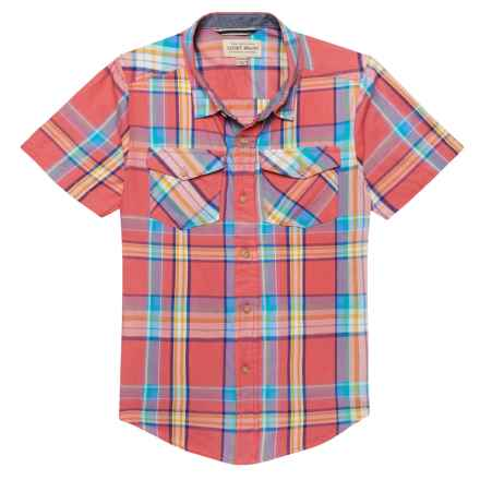 Lucky Brand Twill Weave Plaid Shirt - Short Sleeve (For Big Boys) in Coral Spice - Closeouts