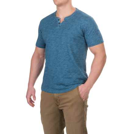 Lucky Brand Two-Button Notch T-Shirt - Short Sleeve (For Men) in Indigo - Closeouts