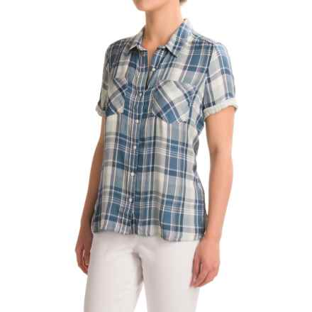 Lucky Brand Two-Layer Plaid Shirt - Short Sleeve (For Women) in Green Multi - Closeouts