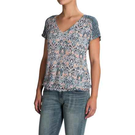 Lucky Brand V-Neck Peasant Top - Short Sleeve (For Women) in Multi - Closeouts