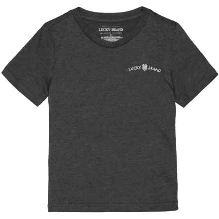 Lucky Brand V-Neck T-Shirt - Short Sleeve (For Little Boys) in Black Heather - Closeouts