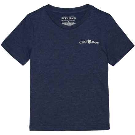 Lucky Brand V-Neck T-Shirt - Short Sleeve (For Little Boys) in Navy Heather - Closeouts