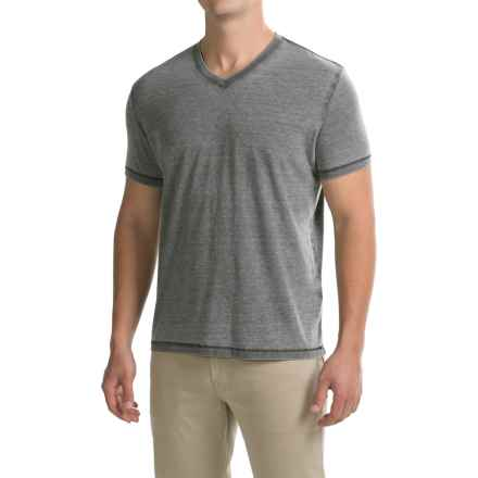 Lucky Brand Venice Burnout Shirt - V-Neck, Short Sleeve (For Men) in Black Mountain - Closeouts