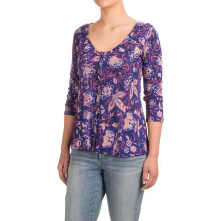 Lucky Brand Vintage Floral Swing Shirt - Cotton-Modal, 3/4 Sleeve (For Women) in Multi - Closeouts