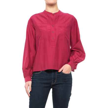 114755609042 Lucky Brand Washed Silk Popover Shirt - Long Sleeve (For Women) in Rumba Red