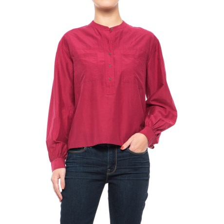 Lucky Brand Washed Silk Popover Shirt - Long Sleeve (For Women) in Rumba Red