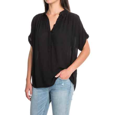 Lucky Brand Woven Blouse - Short Sleeve (For Women) in Black - Closeouts