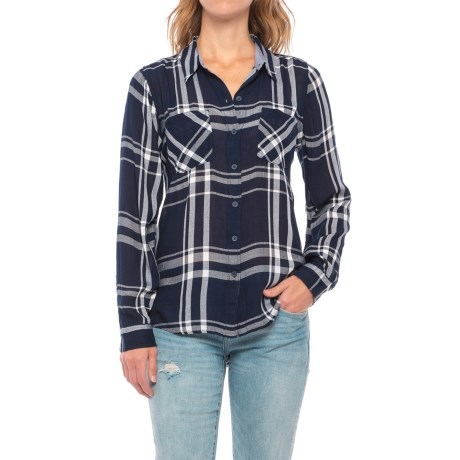 Lucky Brand Woven Plaid Shirt - Long Sleeve (For Women) in Blue Multi